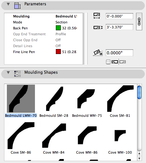 Moulding settings